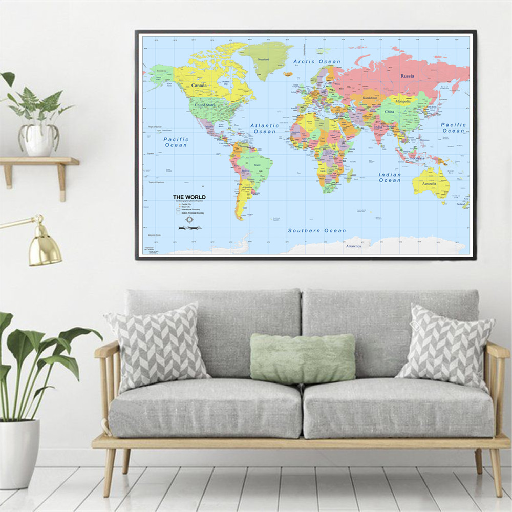 World Map Classic HD Map Canvas Painting Wall Art Nordic Decoration Home Modern Poster For Living Room Unframed Print Pictures in Painting Calligraphy from Home Garden