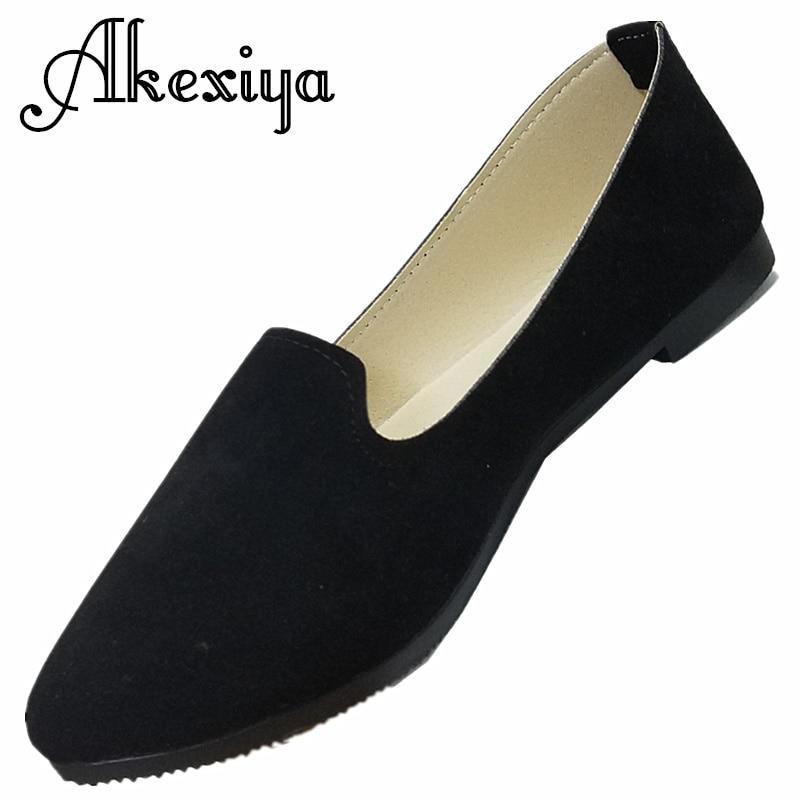 2017 Akexiya Ladies Shoes Ballet Flats Women Flat Shoes Woman Ballerinas Black Large Casual Shoe Womens Loafers Zapatos Mujer ando natsumi arisa 1