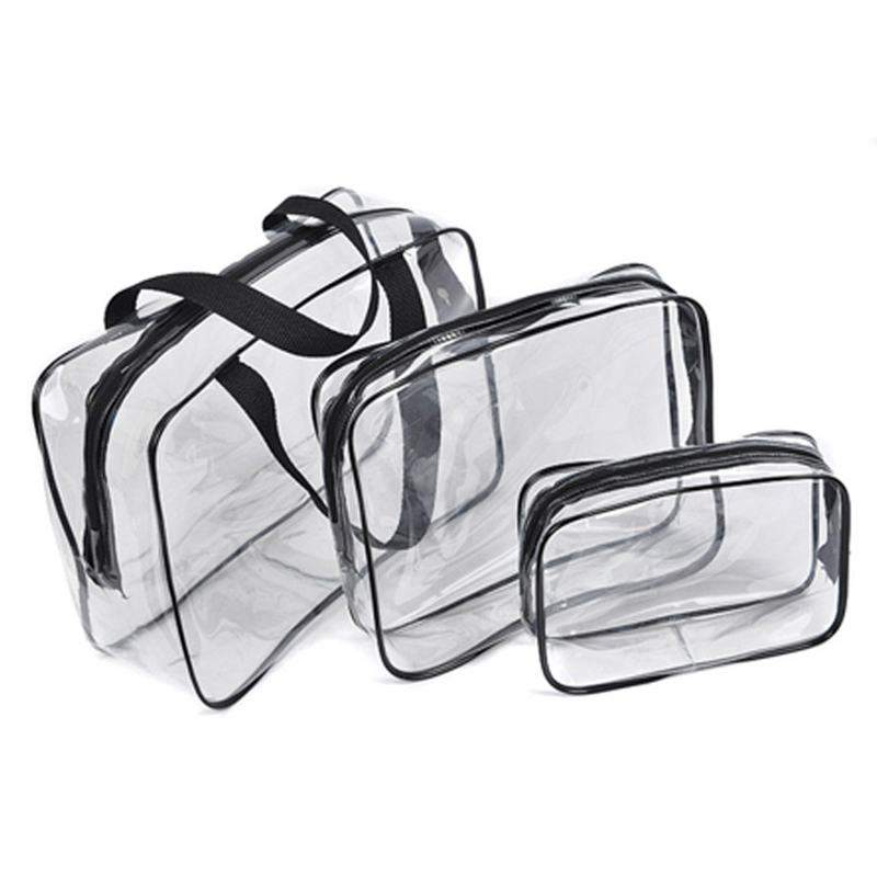 Large-capacity Waterproof Cosmetic Bag косметичкабанная Wash Bag PVC Men And Women Fitness Travel Three-piece
