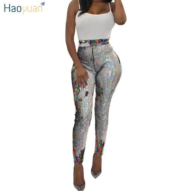 73b1b076eb4 HAOYUAN Plus Size Sexy Sparkly Sequin Pants Women Streetwear Pencil Trousers  Fashion Leggings Skinny Bottoms High Waist Pants