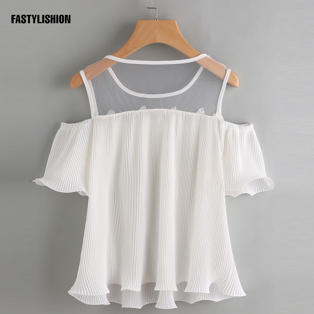 Whtie Blouse Chiffon Shirt HOT 2017 cold shoulder tops Off Shoulder chiffon top Short Sleeve Solid White Cloth Women