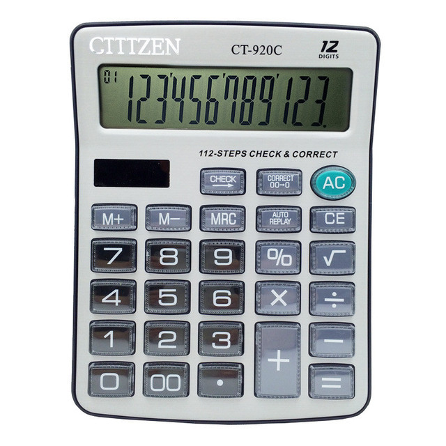 table calculator 12 bit electronic calculator battery crystal style
