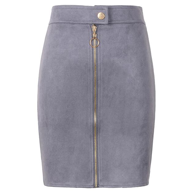 Neophil Women Suede Mini Pencil Skirts Female Vintage Style 2019 Winter Front Zipper Button Ladies Short Skirts Tutu Saia S1911