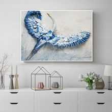 Laeacco Abstract Nordic Watercolor Blue Bird Animal Painting Wall Artwork Prints and Posters Pictures Canvas Decoration