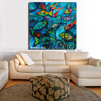 High quality hand painted Animal Painting Blue Sea Fish Oil Painting Wall Canvas Picture Living Room Best Art Abstract picture