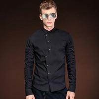 מותגים נבחרים FANZHUAN סדיר 2017 שחורים זכר הגעה חדשה חולצת גברים חולצות שמלת חולצה מזדמן שרוול ארוך גודל אסיה M-5XL