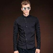 FANZHUAN Featured Brands Men Shirt 2017 New Arrival Male Black Irregular Long Sleeve Casual Shirt Dress Shirts Asian Size M-5XL