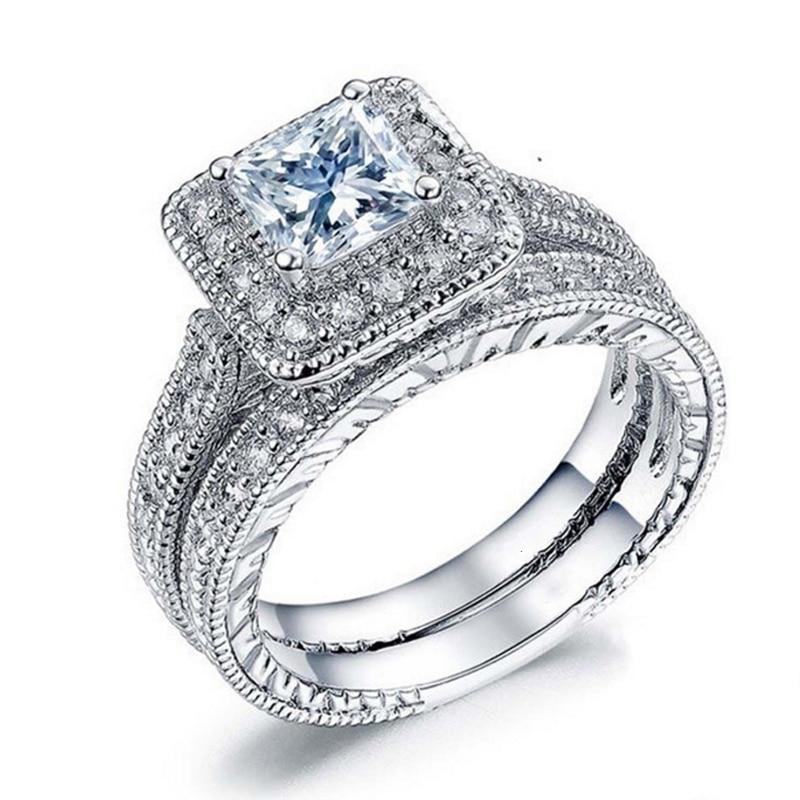 Female White CZ Ring Set Luxury 925 Silver Ring Vintage Wedding Band Promise Engagement Rings For Women