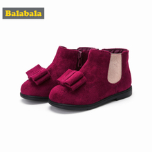 Balabala Toddler Girl Suede Fleece-Lined Ankle Boots with Double-Layer Bow for Children Kids Girl Glitter Detail Anti-Slip Sole