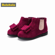 Balabala Toddler Girl Suede Fleece-Lined Ankle Boots with Double-Layer Bow for Children Kids Girl Glitter Detail Anti-Slip Sole(China)