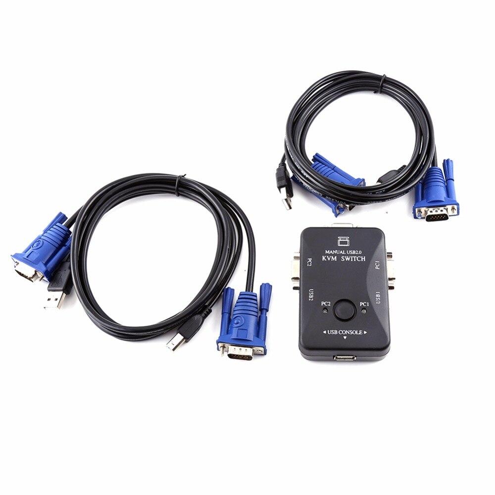 2 Port USB VGA KVM Switch Box Et Câbles pour Ordinateur Partage Moniteur Clavier Souris