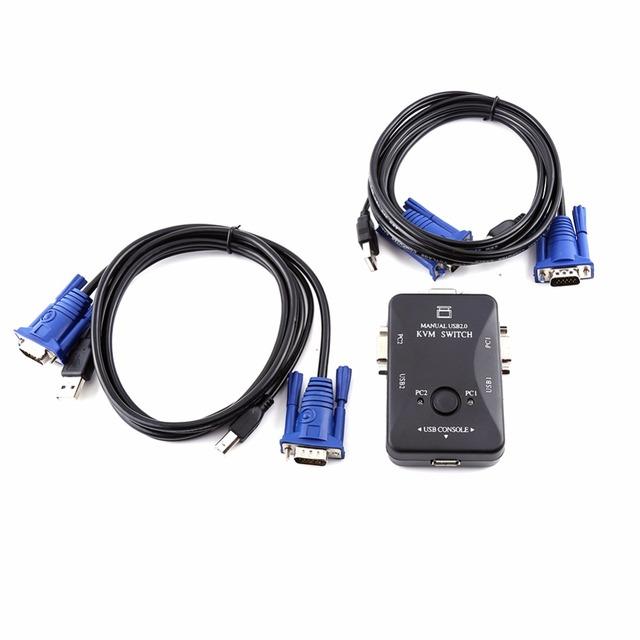 VGA de 2 Puertos USB KVM SWITCH Caja Y Cables para que Comparten el Ordenador Ratón Del Teclado Del Monitor