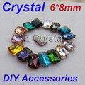Bc01 alta calidad 6 x 8 mm 10 unids/lote Rectangle Octagon Pointback Rhinestones de los cristales de colores diferentes para elegir Fancy Stones