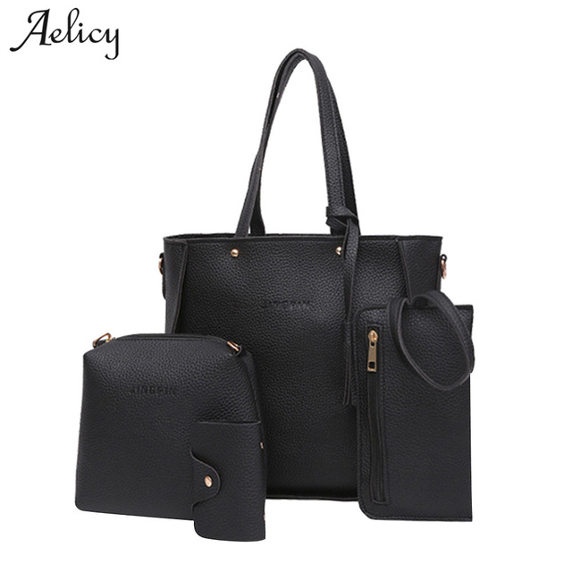 Aelicy Women Four Set Handbag 4pcs set Woman High Quality PU Leather Female  Solid Tote 1f4246fe532c7