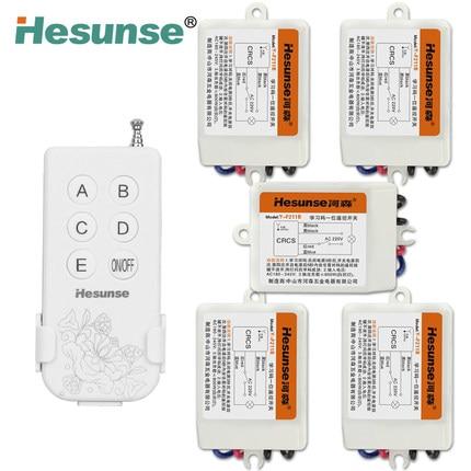 Free Shipping Y F211B1N5 220V Five Ways Wireless Digital ON OFF Remote Control Switch With 5