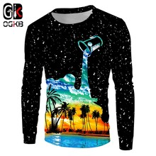OGKB Casual Sweatshirt Cool Print Cup Pour Milk Creative 3D Hoodies Women/men's Workout Fitness Crewneck Pullovers Sweats(China)