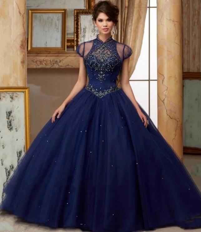 2017 With Jacket Navy Blue Ball Gown Quinceanera Dresses