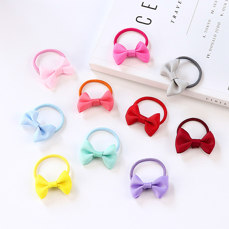 10 pcs small hair Bow baby girls kids elastic hair rubber bands ring accessories for children tie hair rope scrunchies   headwear