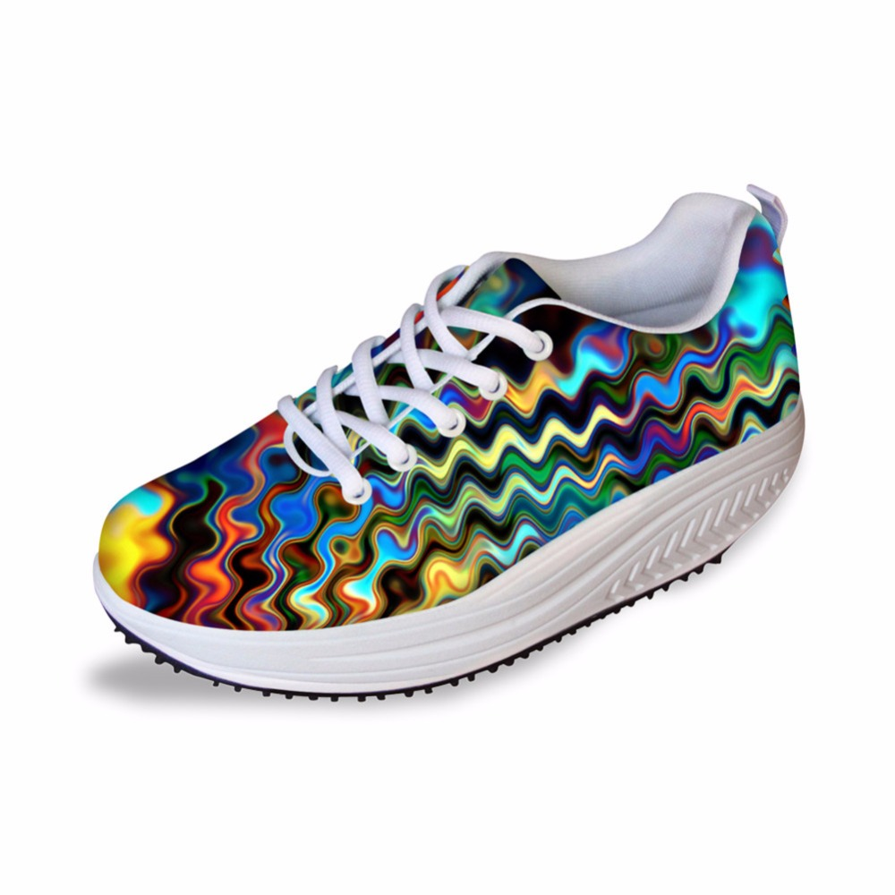 À Respirant Motifs Chaussures Casual Lady 2 Faible Filles Lacets Classique Hauteur Croissante Géométriques aacustomizedimages Ha0056as Confort Femelle Noisydesings RwI88