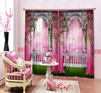 Pink Color Beautfiul 3D Blackout Curtains For Living room Bedding room Christmas Home Decorative Gifts Drapes Cotinas para sala