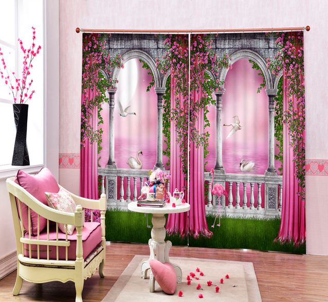 Pink Color Beautfiul 3D Blackout Curtains For Living room Bedding ...