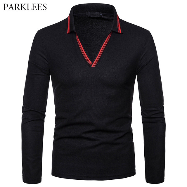 725ea71d1a84 Fashion Striped V Neck Polo Shirt Men 2018 Autumn New Slim Fit Long Sleeve  Polo Homme