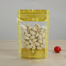 цена на 100Pcs Golden Clear Stand-up Plastic Food Bag, Snack Nuts Beans Packaging Pouch with Zip Lock