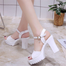 New summer high heel womens sandals thick with platform waterproof open toe word fish mouth female sandal
