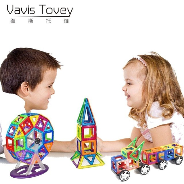 Vavis Tovey 82/97/125Pcs Big Size Magnetic Designer Building Blocks Model Enlighten Bricks Magnetic Toys Children