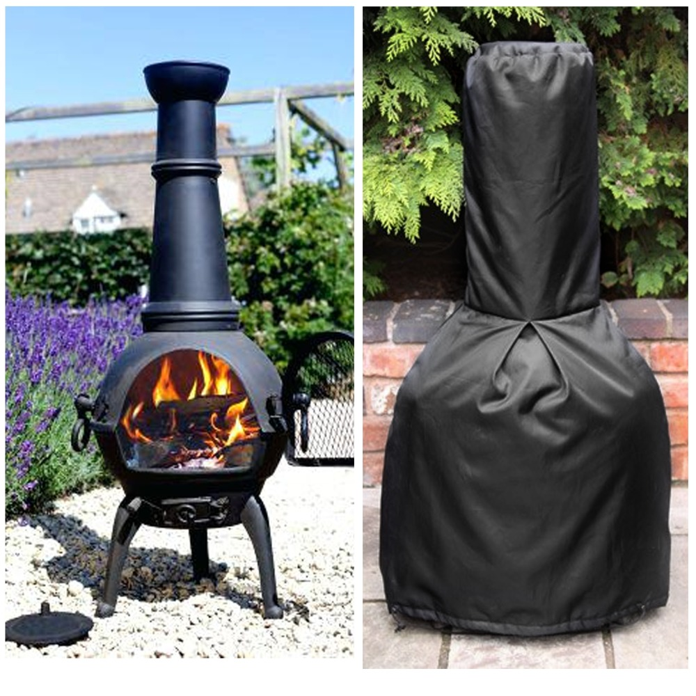 190T Black Chiminea Cover Waterproof Protective Chimney ...