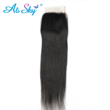 Free Part [Ali Sky] Hair Peruvian Virgin Straight 4*4 Swiss Lace Closure 100% Human Hair Shipping Free natural black color 1b