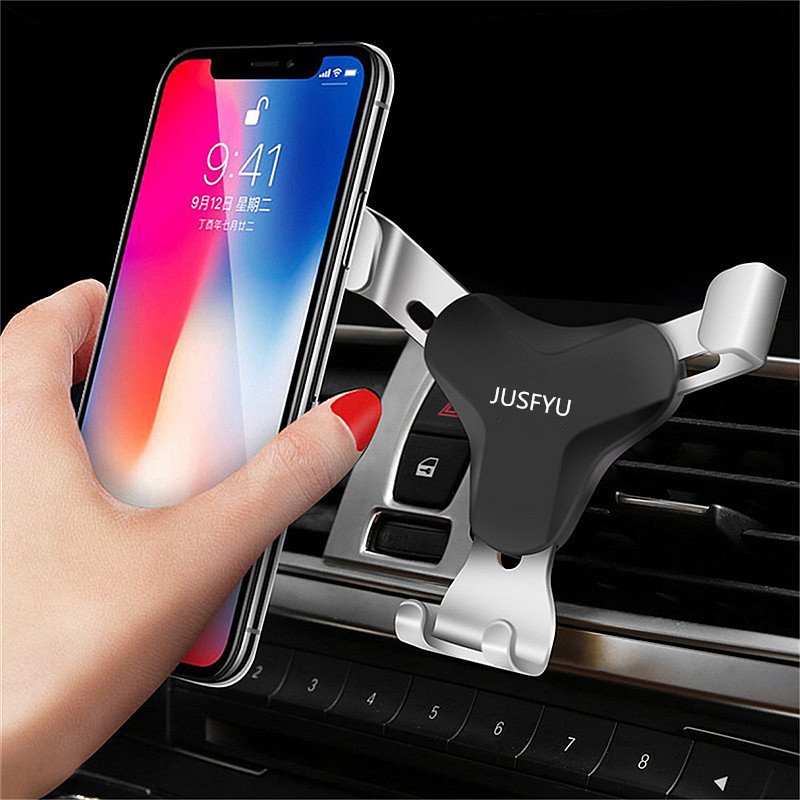 JUSFYU Universal Air Vent In Car Holder Phone Stand For iPhone X Xiaomi Samsung Huawei mate 10 lite Gravity Auto Mobile Support in Phone Holders Stands from Cellphones Telecommunications