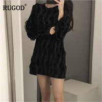 RUGOD Elegant Lace Patchwork Flannel Mini Dress Women 2018 Spring New Arrival Casual O Neck Long Sleeve Straight Dress Vestidos