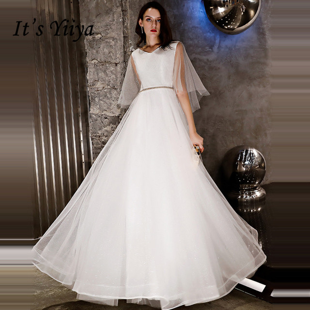 It s YiiYa Evening Dress 2018 Shiny Sequined V-neck White A-line Lace Up  Floor-length Dinner Gowns LX1292 robe de soiree 76fa6d23cbd1