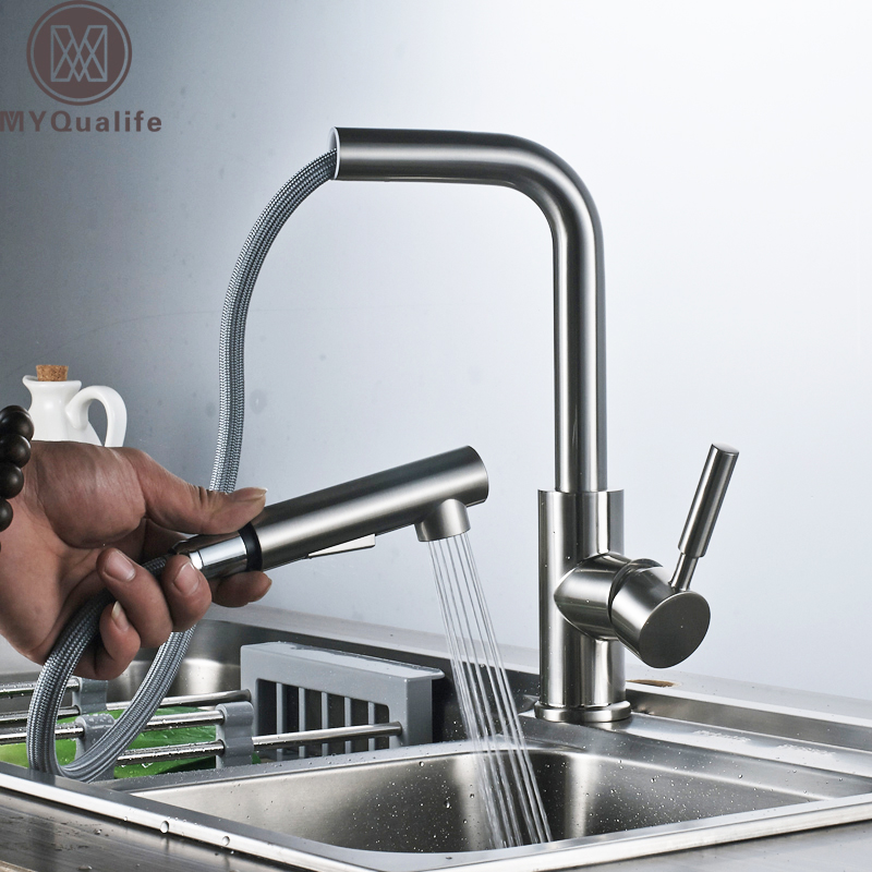 Brushed Nickel Pull Out Kitchen Faucet Single Handle Bathroom Kitchen Hot and Cold Water Taps Deck Mounted deck mounted nickel brushed kitchen sink faucet 75cm height bathroom kitchen hot and cold water mixer taps