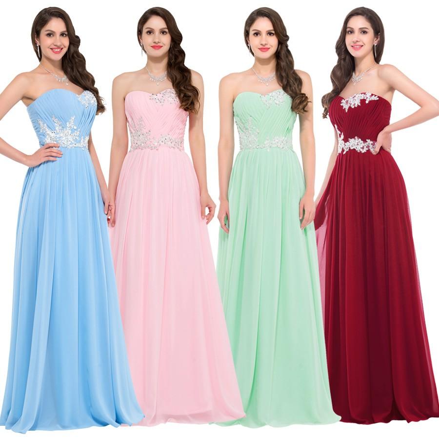 Largo de la gasa vestidos de dama de honor púrpura rosa verde azul ...