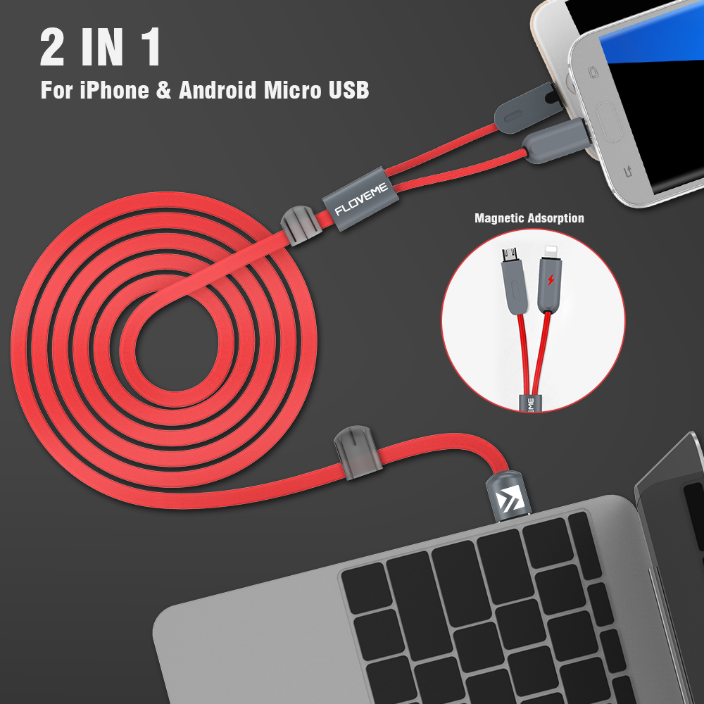 buy floveme 2 in 1 magnetic cable for iphone ipad micro usb cable lightning. Black Bedroom Furniture Sets. Home Design Ideas