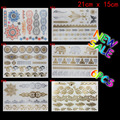 6 PCS/ lot temporary tattoo women gold tattoo flash tattoos transferable jewelry henna tatoo body art sex product stickers tatto