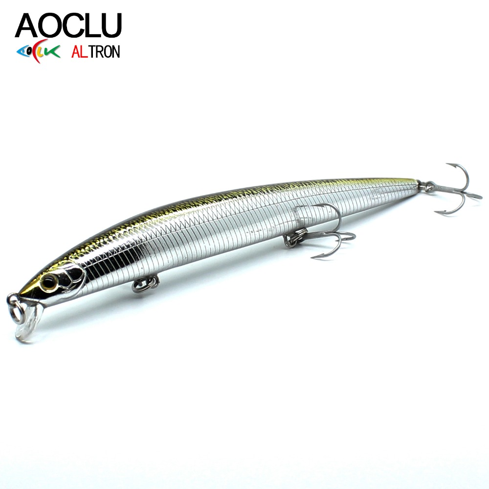 AOCLU wobblers Jerkbait 5 Colours Long Casting 15cm 18.0g Hard Bait Minnow Crank ماهیگیری طعمه باس آب نمک تازه 6 # قلاب های VMC