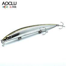 Aoclu wobblers jerkbait 5 cores longa fundição 15cm 18.0g duro isca minnow manivela iscas de pesca baixo água salgada fresca 6 # vmc ganchos
