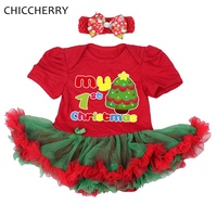 My First Christmas Costumes 2pcs Infant Girl Set Baby Lace Romper Dress Headband Baby Clothes Toddler