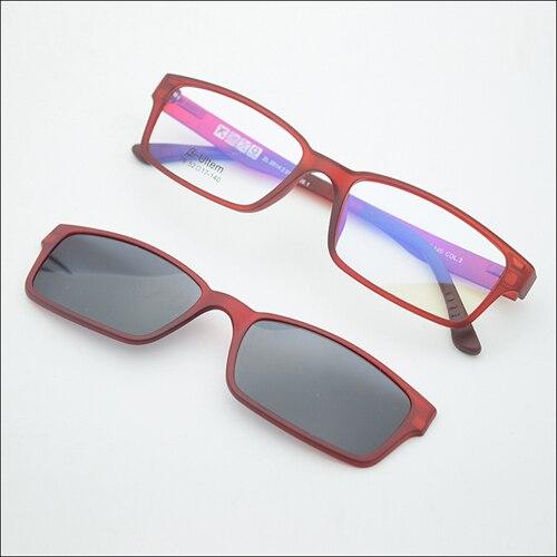 Ультра-светильник, вольфрам, титан, оправа для очков, 3D магнит, зажим, солнцезащитные очки, близорукость, функциональные очки, поляризационные, JKK 79 - Цвет оправы: Wine red