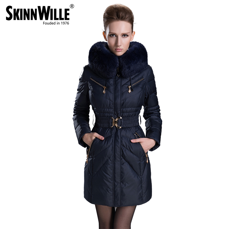 2017 fashion fur collar thickening slim women's female medium-long down coat winter outerwear female