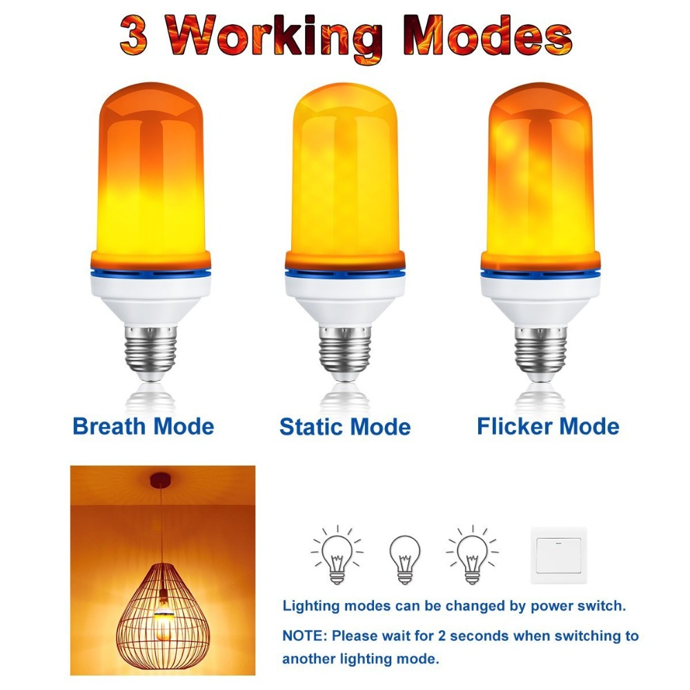 NEW 4W E26 LED Flame Effect Lamps Fire Lamp Bulbs Flicker Emulation Light Bulb AC 110V Night Lights Ship From US warehouse led buring fire flame effect led bulb corn lamp night light bulbs novelty emulation fire flicker burning decorative lamp lantern