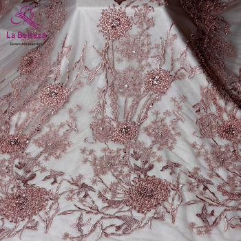 1yard New arrivels pink/black/blue heavy handmade beads on netting embroidery wedding dress lace fabric 130cm width