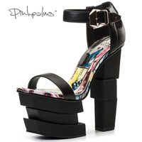Pink Palms Summer Shoes High Heels Sandals Women Black Platform Sandals Strange Square Heel Open Toe