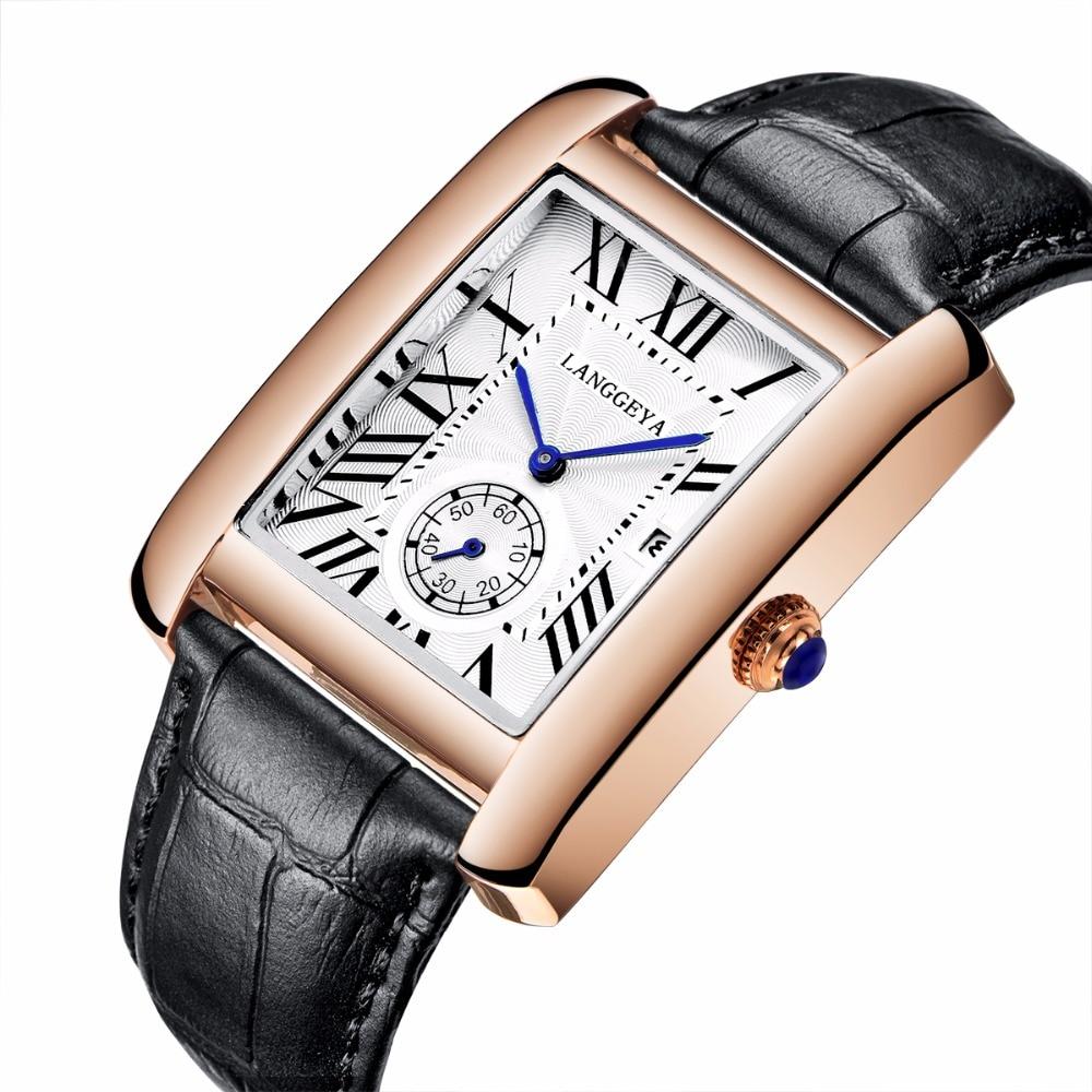 Fashion  Men's Women's Quartz Watches Rectangular Business Couple Watches Genuine Leather Male Retro Quartz Wristwatches