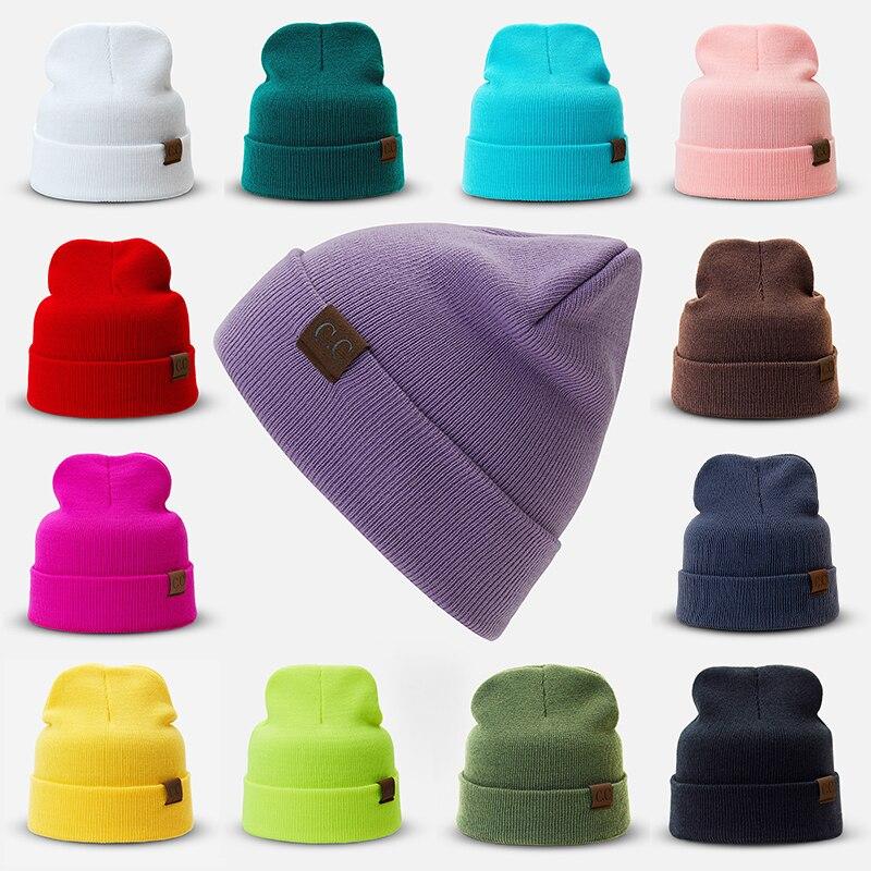 bd6b36c2242 Hat Female Unisex Solid Cotton Blends CC Beanies Winter Warm Soft HIP HOP  Knitted Hats Men Skullies Winter Cap For Girls And Boy