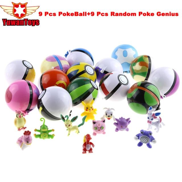 9 Шт./лот 13 Стиль 7 см 9 Шт. Ткнуть Мяч + 9 шт. Бесплатный Случайная PokeBall Фигура Игрушки Супер Poke Бал Рисунок Игрушки Куклы Для Детей подарки