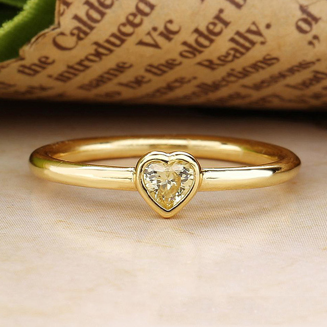 83532e548 Authentic 925 Sterling Silver Ring Shine Radiant Heart Rings Yellow Crystal  For Women Wedding Party Gift Fine DIY Jewelry